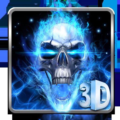 3D Blue Fire Skull Theme Launcher Download Latest Version APK