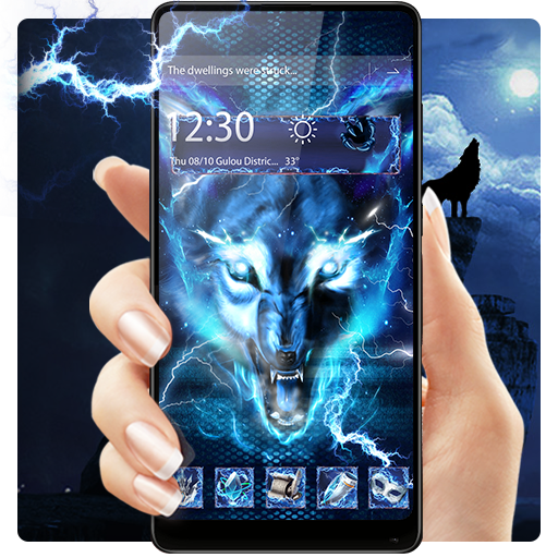 3D blue fire Ice wolf launcher theme Download Latest Version APK
