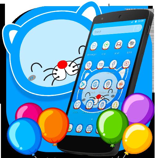 Blue Cat Cartoon launcher Theme Download Latest Version APK