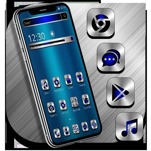 Blue Silver Metal Launcher Theme Download Latest Version APK