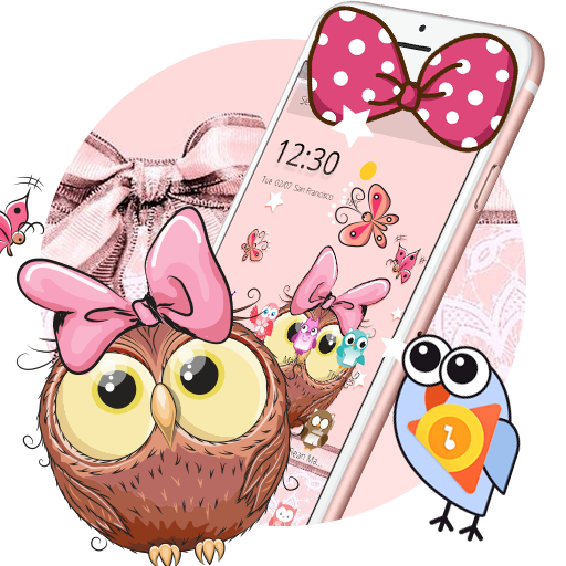 Cute Cartoon Owl Bowknot Theme Download Latest Version APK