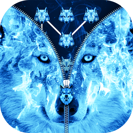 Ice Fire Wolf Lock Screen Zipper Download Latest Version APK