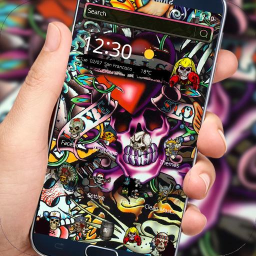 Rock Skull Graffiti Theme Lock Screen Call Download Latest Version APK