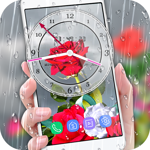 Rose Analog Clock 3D: Rain Drop Live Wallpaper HD Download Latest Version APK