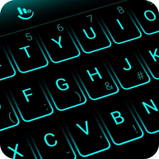 Simple Neon Blue Future Tech Keyboard Theme Download Latest Version APK